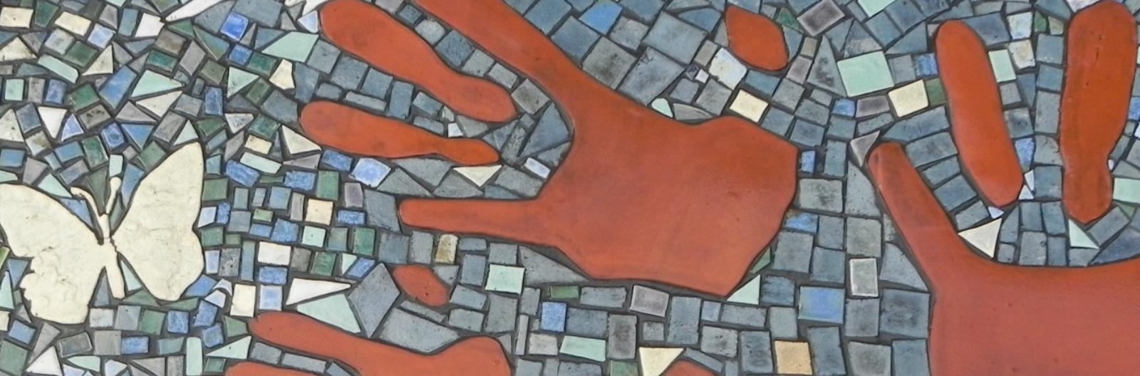 Enquiry hands mosaic